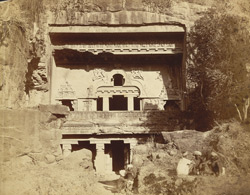 [General view of façade of Buddhist Chaitya Hall, Vishkakarma Cave (Cave X), Ellora.]
